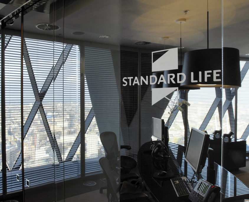 "Standard Life Wealth executive offices in the iconic ""Gherkin"", St Mary Axe, London"