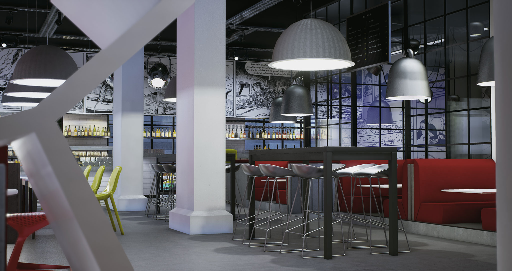 Radisson RED Brussels cafe using Unreal Engine