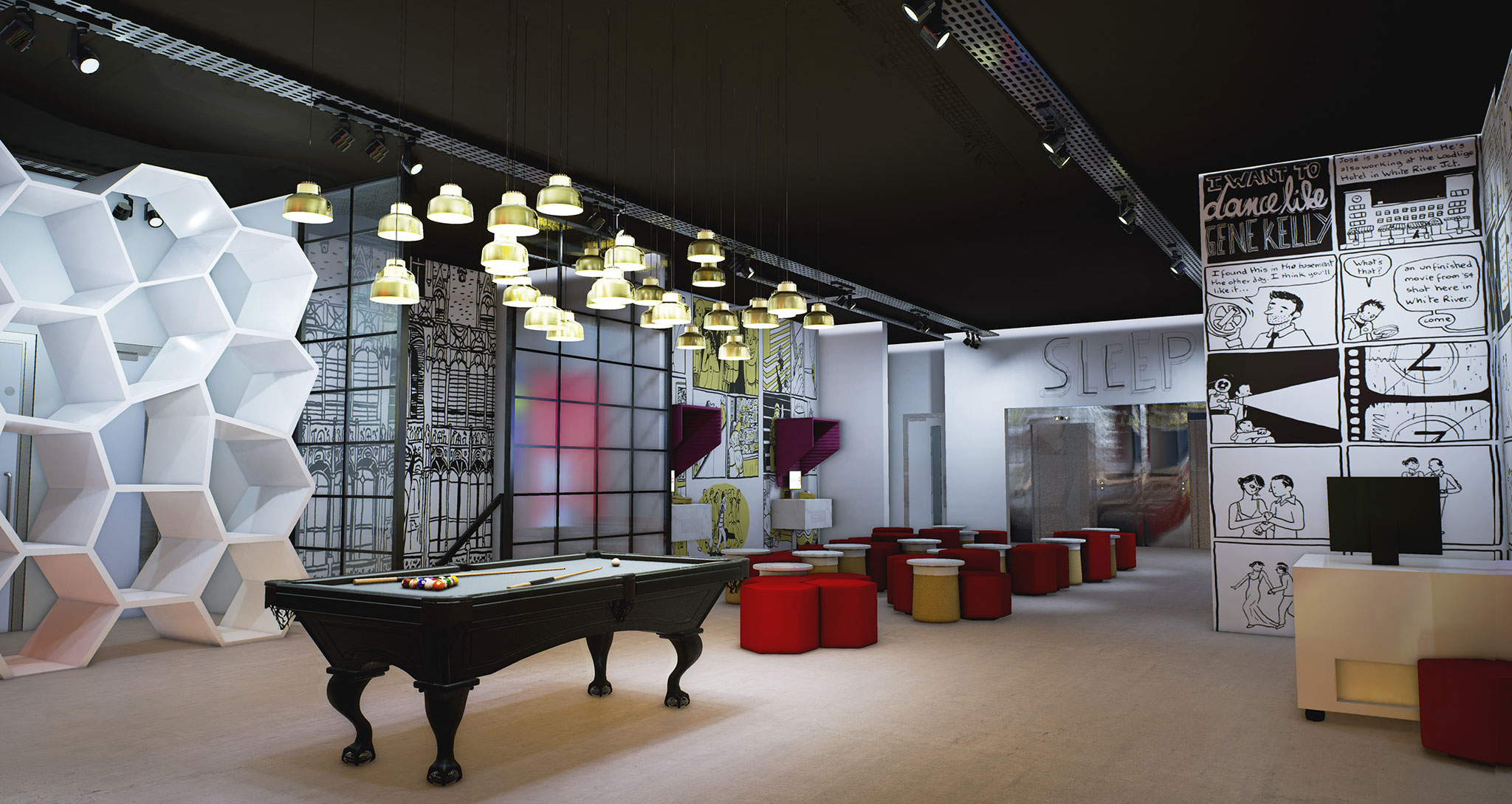 Radisson RED Brussels lobby using Unreal Engine