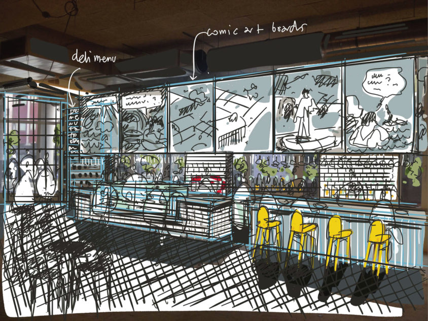 Radisson RED cafe concept sketch