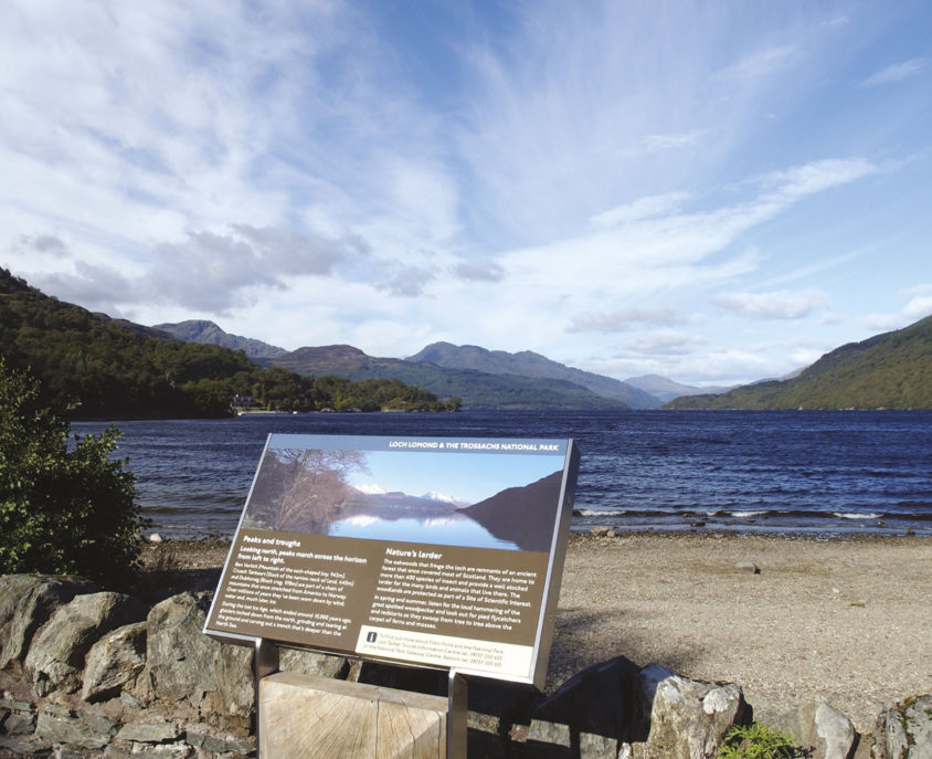 Loch Lomond and The Trossachs National Park signage